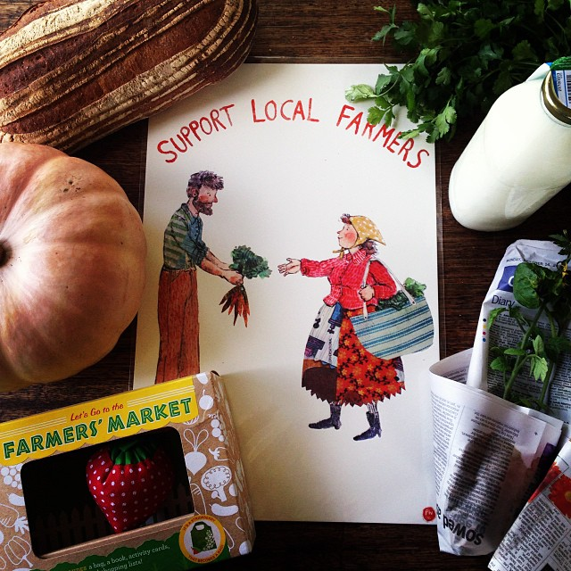 "We love our local farmers market. Do you? WIN a gorgeous Phoebe Wahl ""Support Local Farmers"" print OR a super fun ""Lets Go the Farmers Market"" kit! Comment on this photo or send us a message and let us know how you first heard about Spiral Garden. Was it"