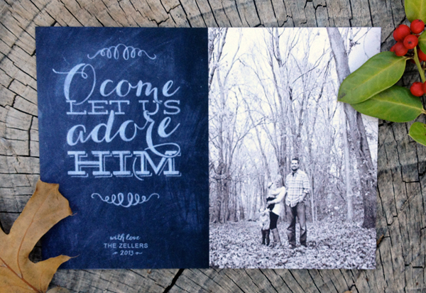 o come let us adore him - chalk style photo card