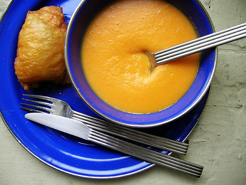 baked chicken and creamed carrot soup