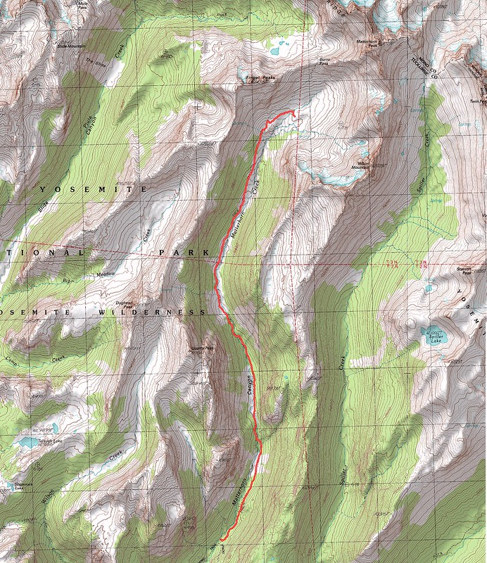Topographic Map of our sixth day's hike - Descending Matterhorn Canyon