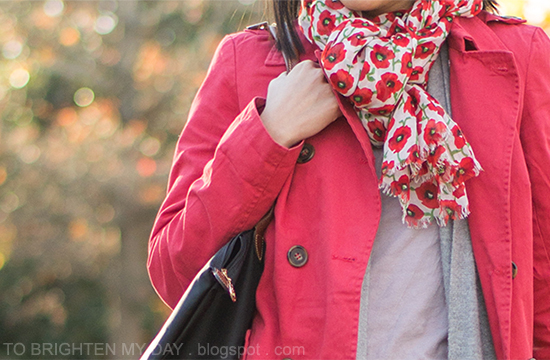floral scarf, red jacket, gray sweater + top