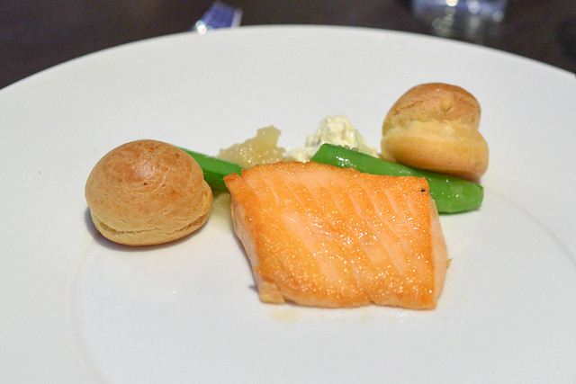 arctic char, mascarpone onion jam profiterole, candied lemon gelee, romaine, snap pea