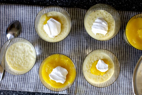coconut tapioca pudding with mango