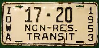 IOWA 1953--- NON-RESIDENT TRANSIT PLATE