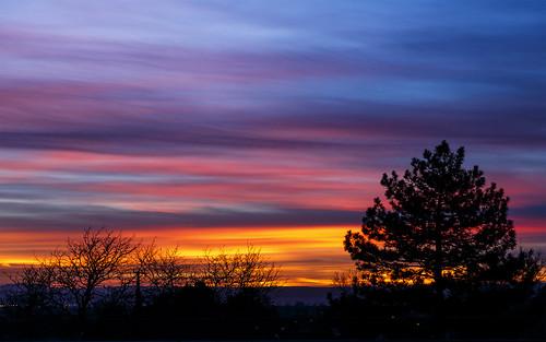 sunset sky silhouette night cloudy