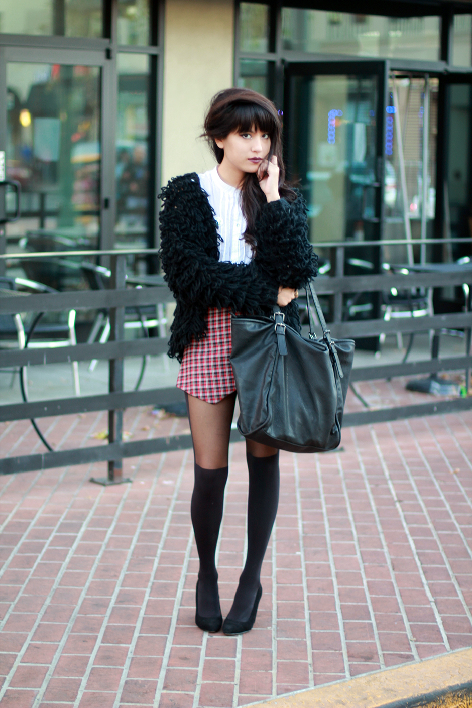 Plaid skort, shaggy cardigan by Tarte Vintage at shoptarte.com