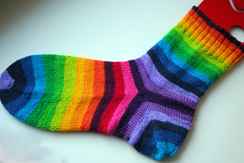 15 color rainbow socks one down
