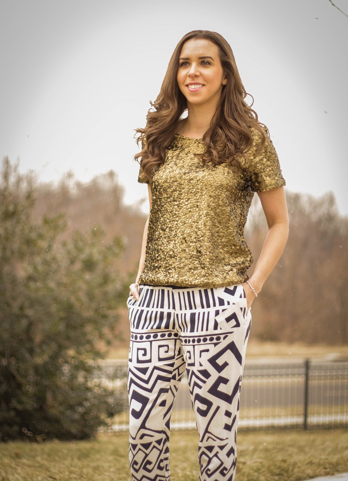 va darling. dc blogger. virginia blogger. copper sequins top. printed bottom. nude heels. street style. 3