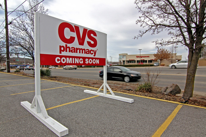 cvs pharmacy signs placed at former days inn site