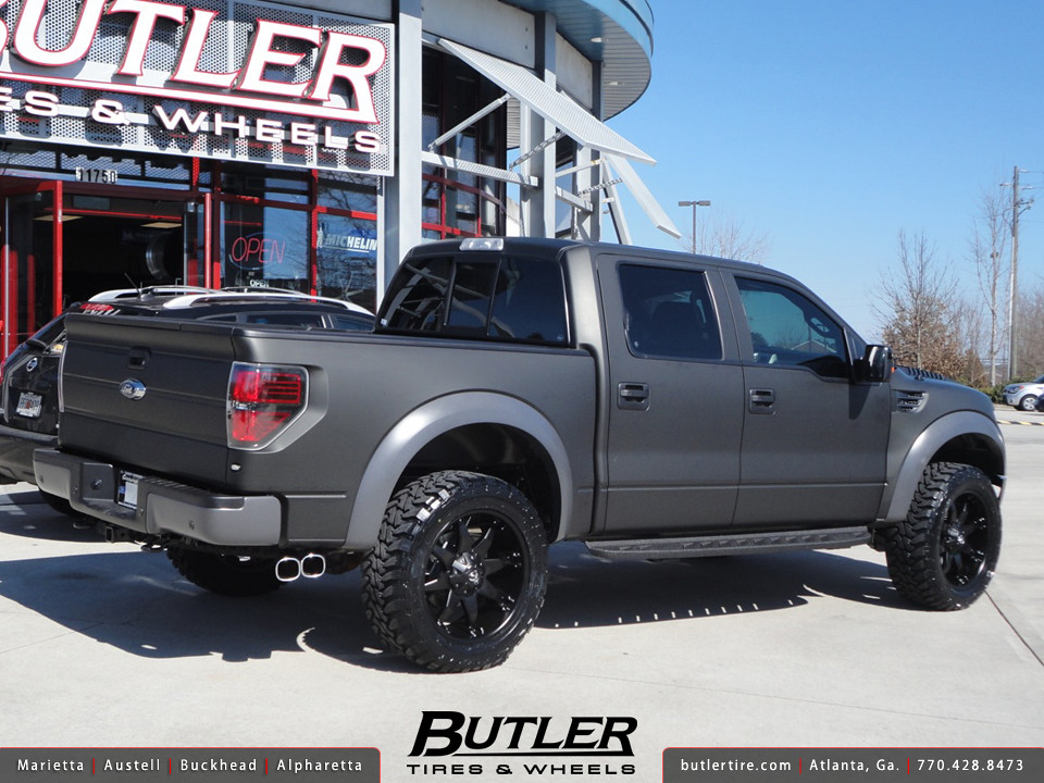Matte Black Ford Raptor with 22in Fuel Octane Wheels - a ...