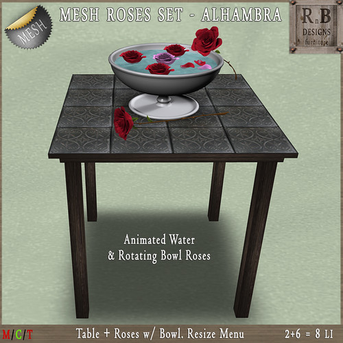 PROMO 55L ! *RnB* Mesh Table w Roses - Alhambra Grey (R)