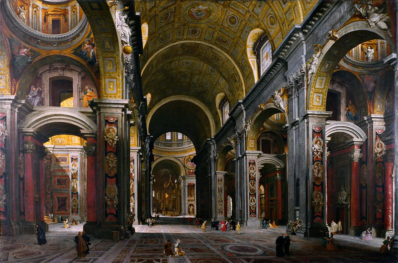 Giovanni Paolo Panini - The Interior of St Peter's, Rome (c.1742)