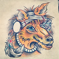 Finally had time to mess around with some color schemes for @rizzlecheech super awesome custom gypsy fox I drew and started recently. I'm pretty sure I'm gonna color it like this. For info on how you can schedule an appointment for a tattoo, shoot me an e