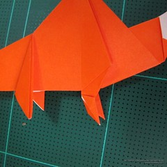 วิธีการพับกระดาษเป็นรูปไดโนเสาร์ (Origami Dinosaur) 026