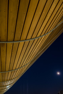 The Olympic velodrome by moonlight, Lee Valley VeloPark, Queen Elizabeth Olympic Park, London