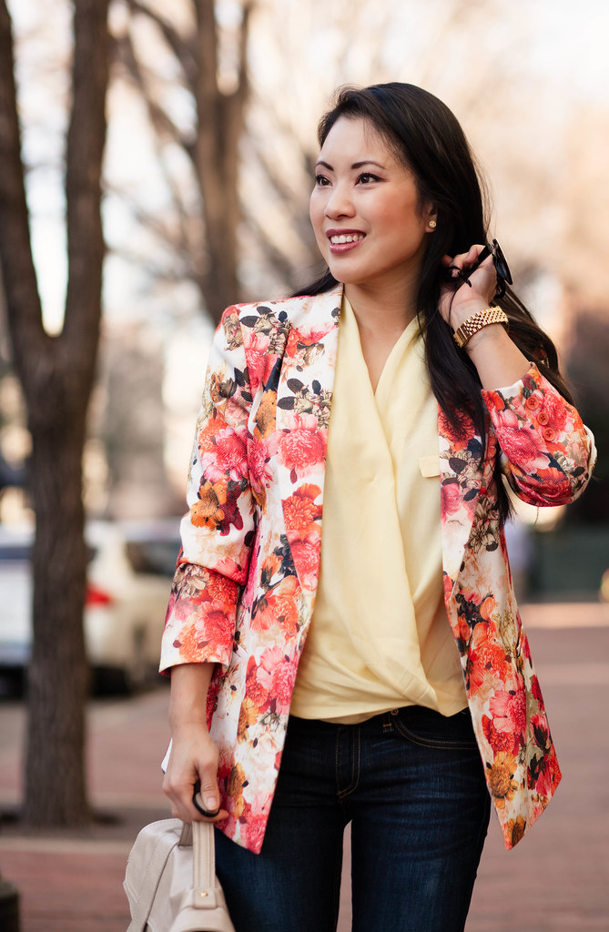 cute & little blog | petite fashion | spring floral yellow outfit | floral blazer, yellow surplice top, skinny jeans, nude pumps