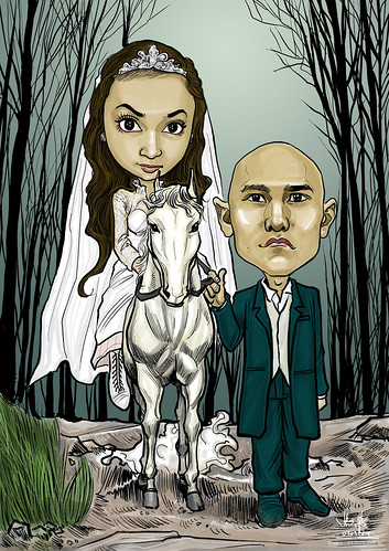 digital wedding couple caricature on horse