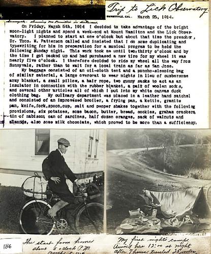 Charles Fuller Trip to Lick Observator 1914