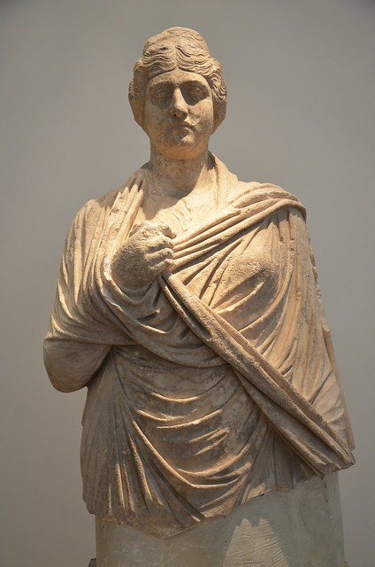 Statue of Faustina the Elder, wife of Antoninus Pius, from the Nymphaeum of Herodes Atticus at Olympia, dating from between 149 and 153 AD (posthumous), Olympia Archaeological Museum, Greece