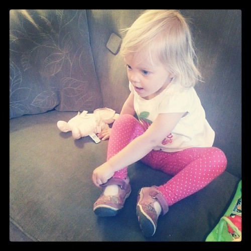 "Frances can put her Mary Jane style shoes on all by herself now. Cue parental wonder, amazement, and the tiniest bit of ""my baby is growing up"" sadness #365photoproject #day246"