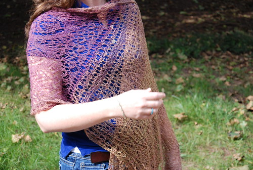 Tibetan Clouds handspun beaded lace stole, submitted for 2014 juried show Plumage