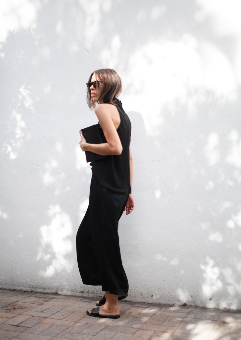 modern legacy blog street style culottes crop wide leg pants Camilla and Marc high neck assent funnel top all black outfit Alexander Wang bag Prisma envelope clutch slide sandals spring summer (3 of 16)