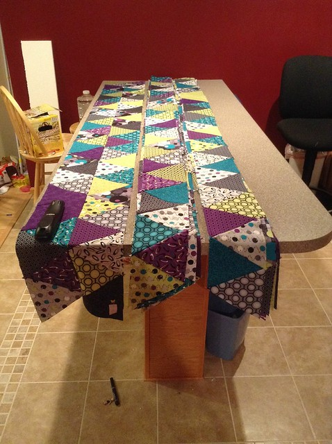 1 pair or rows together - the rest are stacked up and ready to be pressed and pinned.  But not tonight!