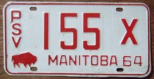 MANITOBA 1964--- PUBLIC SERVICE VEHICLE -X PLATE
