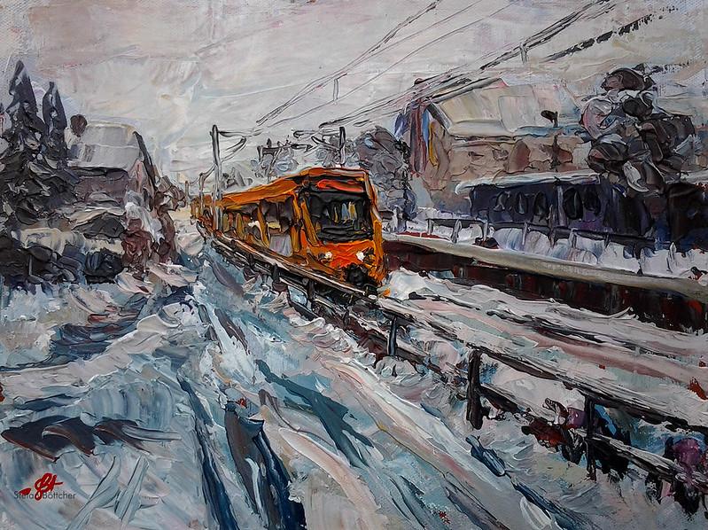 U6 Richtung Stuttgart fährt durch ein verschneites Gerlingen