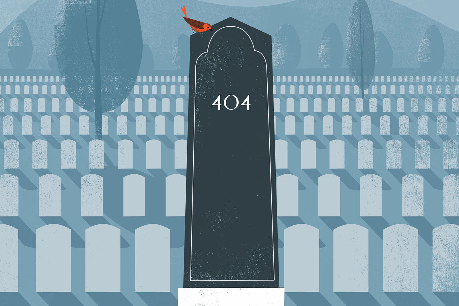 Legacy illustration with tombstone in graveyard, by Tom Froese