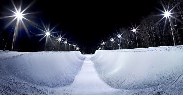 Stoneham halfpipe at night