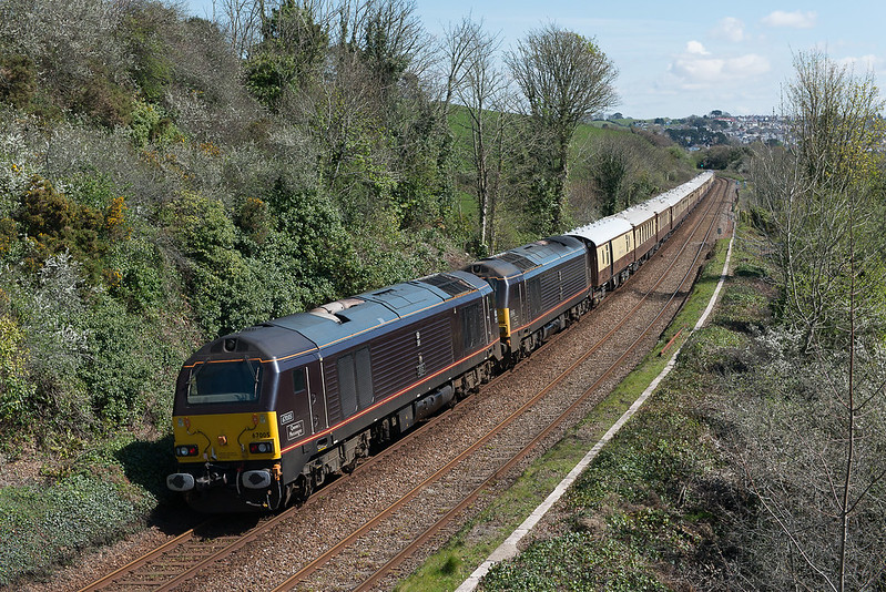 Barry_Jones_160423_67005 67006 (T T 66027) passing site of Defiance Platform, Saltash (1Z79 1100 Truro to Plymouth), 23 Apr 2016