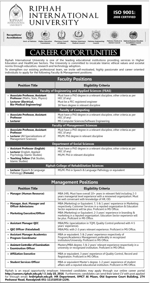 Riphah International University Career Opportunities