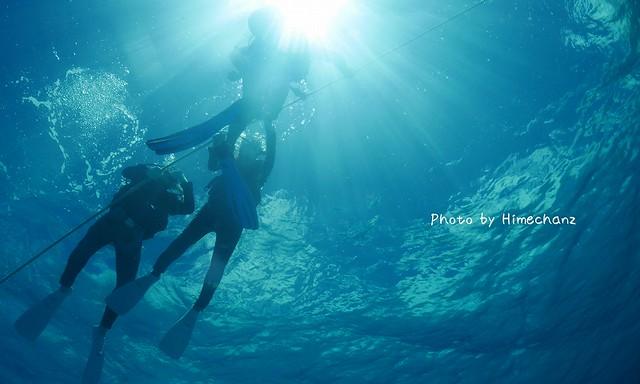 初めての体験ダイビングでこんな天気こんな透明度だなんて♪