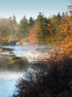 Fall mist on the river