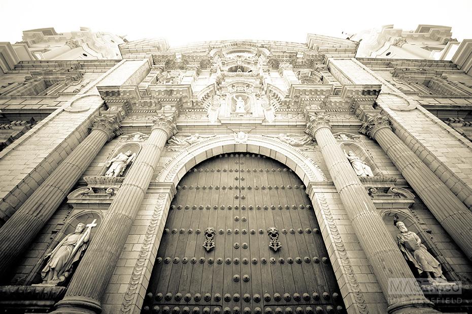 Impressive architecture lining the Plaza de Armas, Lima.