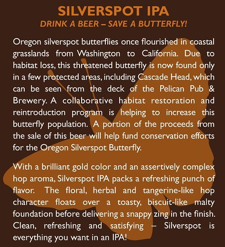 Silverspot IPA back label. (Photo courtesy Pelican Pub and Brewery)