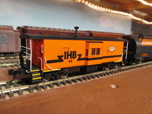 An H.O Scale model of an Indiana Harbor Belt Railroad bay window caboose. by Eddie from Chicago