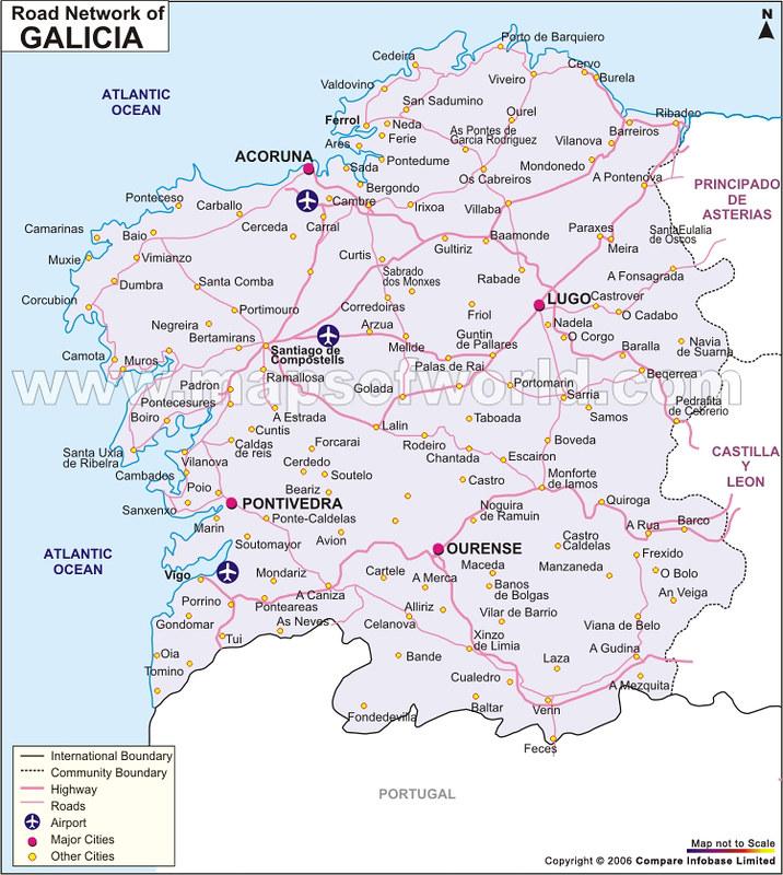 mapa de espanha galiza Mapas das Regiões e Comunidades Autónomas de Espanha mapa de espanha galiza