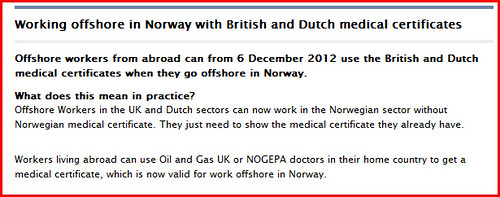 Medical certificate Working Offshore in Norway