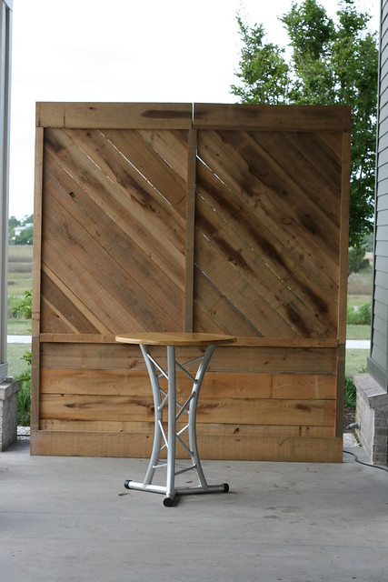 Rustic Wood Backdrop with Truss Table