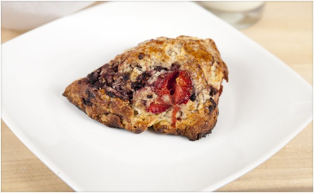 Strawberry-Blackberry Sour Cream Scones (Red, White, and Blue Scones!)