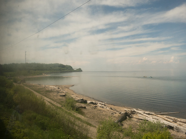 The view of the lake from our dirty window.