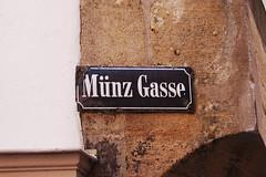 Münz Gasse street sign in Tübingen