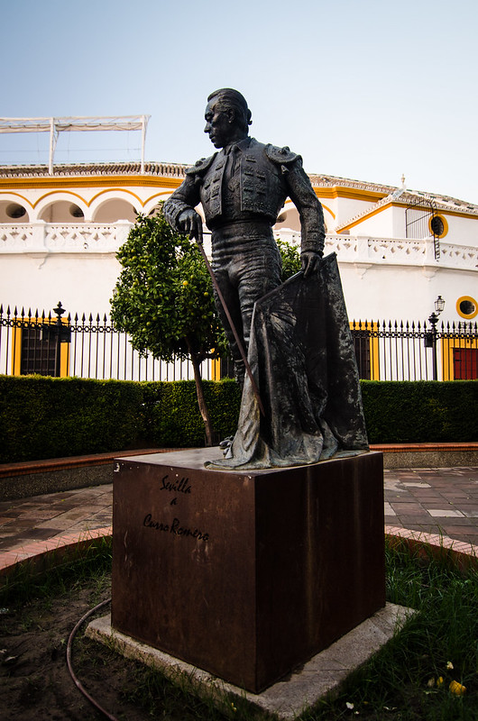 A statue of a famous toreador at Sevilla's historic Plaza de Toros, home of the bullfights.