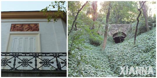 Dance hall and stone bridge in parque del capricho, Madrid