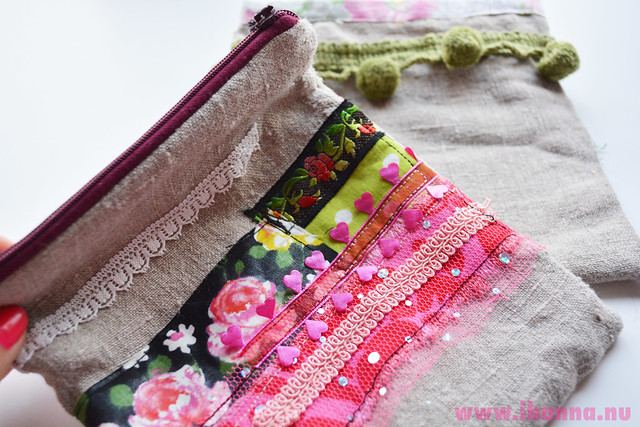 Pink scrappy pouch with zipper - Copyright Hanna Andersson