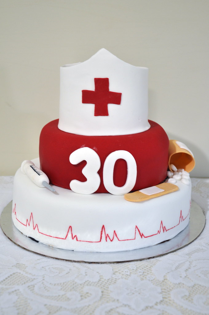 thirty 30th birthday mudcake fondant nurse doctor medical needle hat pills tablets bandaid plaster