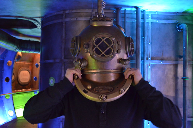 Biosphaere Potsdam Russ in diving helmet