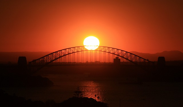 Sunset, Sydney Harbour, Harbour Bridge, Dover Heights, Sydney, Australia, fotoeins.com